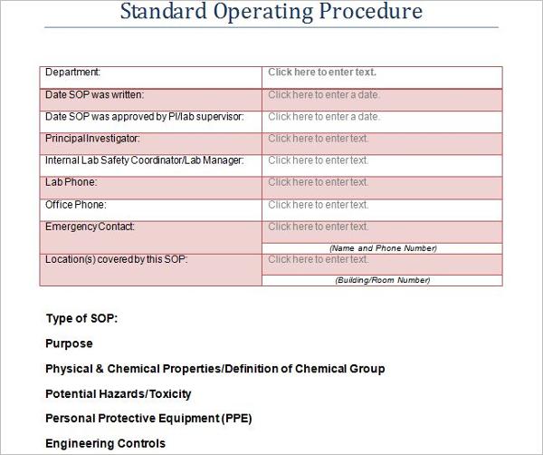 Standard Operating Procedure Outline