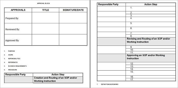 Standard Operating Procedure Sample PDF