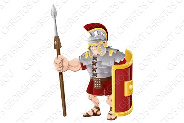Strong Roman Soldier Cartoon