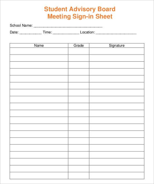 Student Sign In Form Download