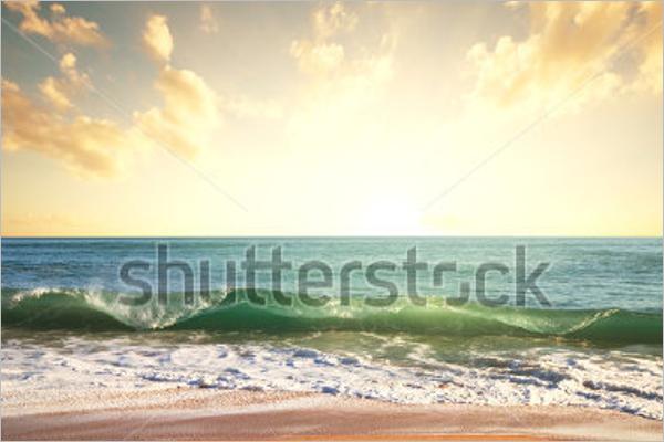 Sunrise Wave Ocean Background