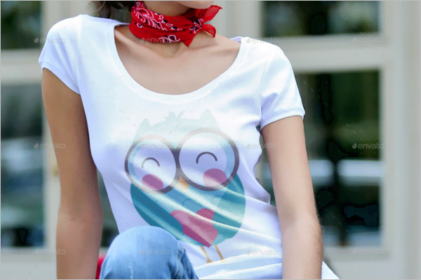 T-Shirt Mockup With Model Template