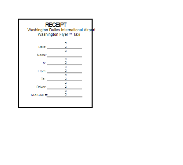 Taxi Cab Payment Receipt Template