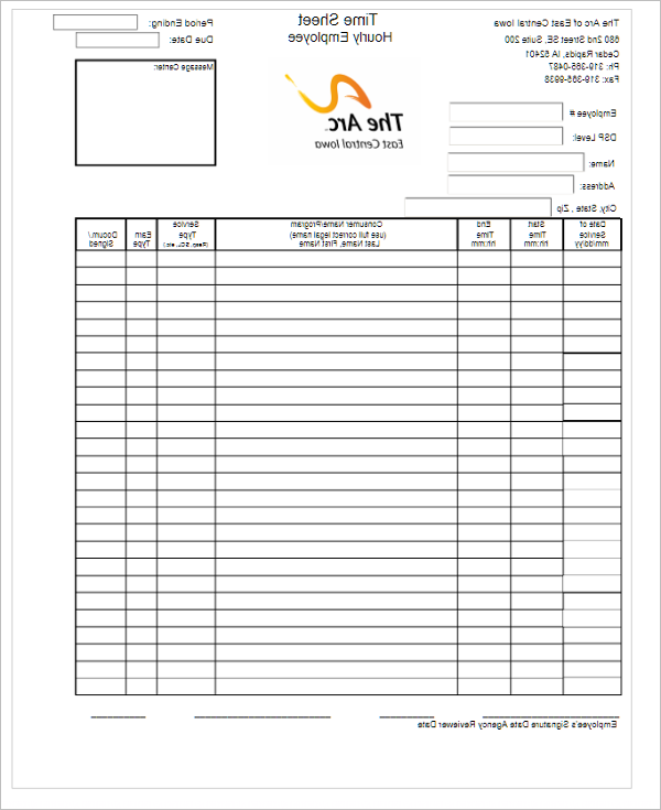 Timesheet Hourly Template for Free