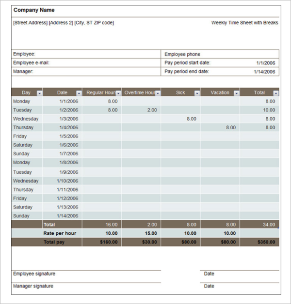 Timesheet Template Free Download