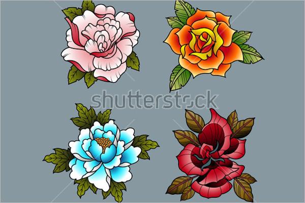 Traditional Tattoo Flowers Set Design