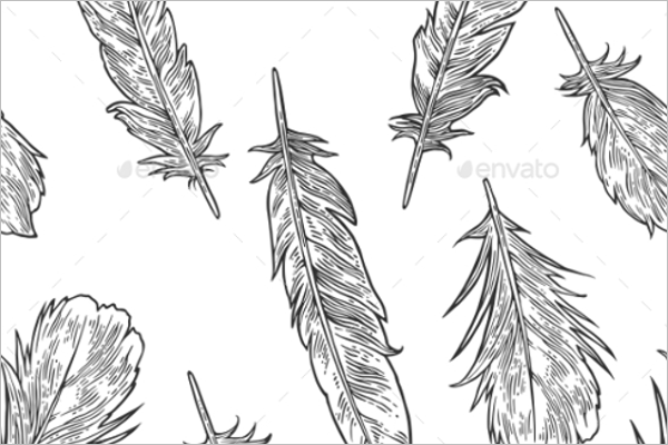 Vintage Feather Pattern Vector