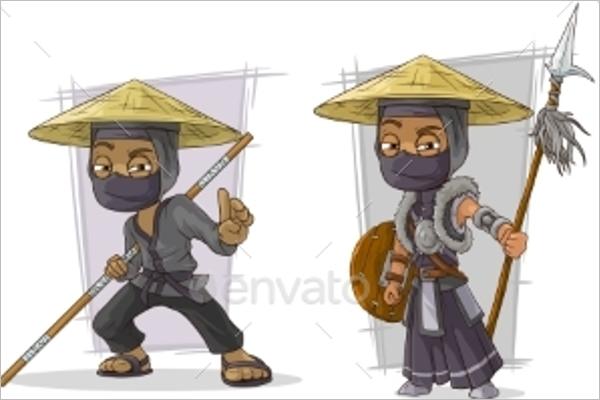 Warriors Character Vector Set