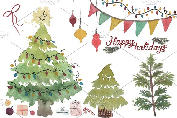 Watercolor Christmas Collection Design