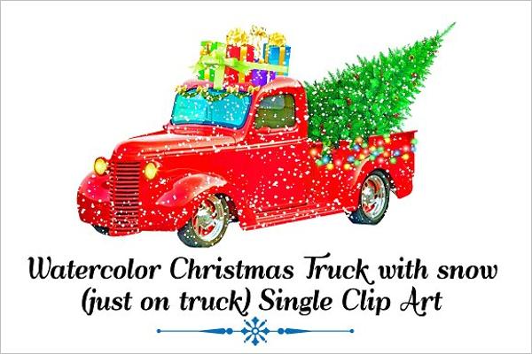 Watercolor Christmas Truck Design