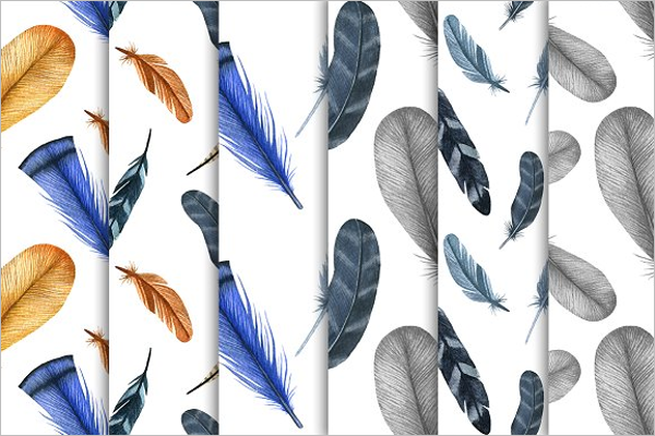 Watercolor Feathers Set Patterns