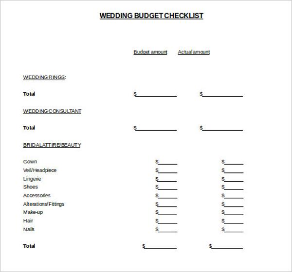 Wedding Budget Template PDF