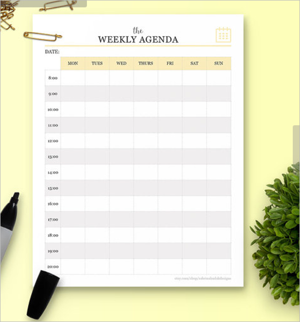 Weekly Agenda Template Word