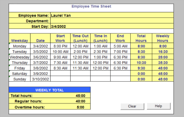 weekly timesheet excel template