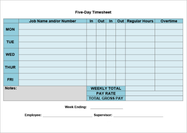 printable weekly timesheet template