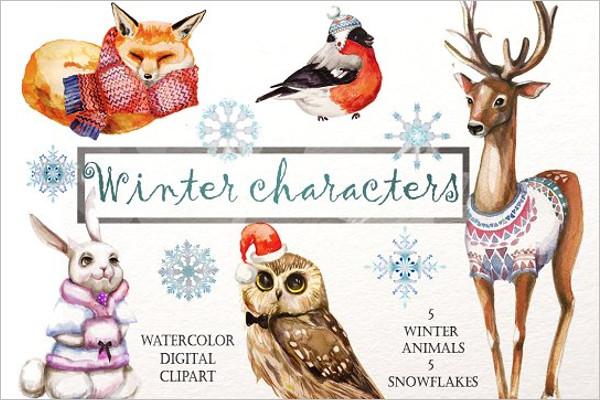 Winter Animals Background