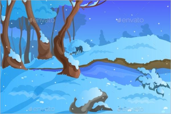 Winter Background Cartoon Template
