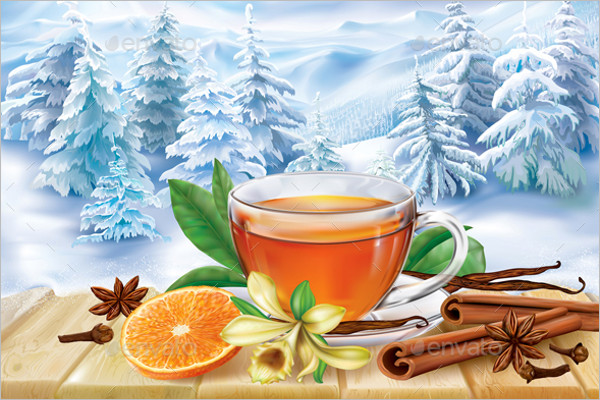 Winter Tea Background Design