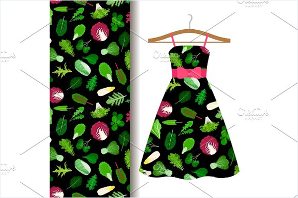 Women Fabric Pattern With Vegetables