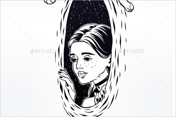 Women Portrait Tattoo Template