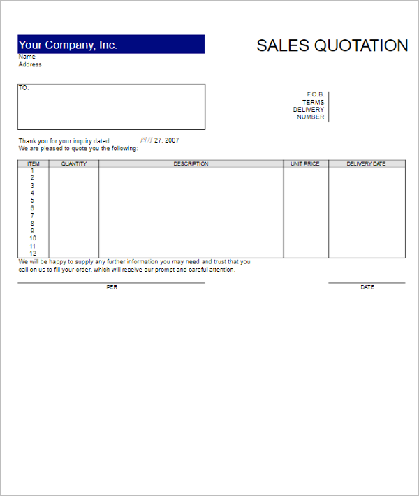 free excel quotation templates