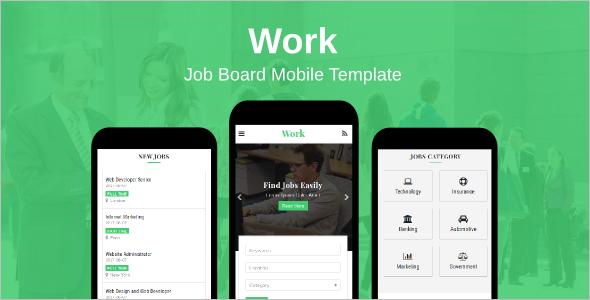 Working Job Board Mobile Template