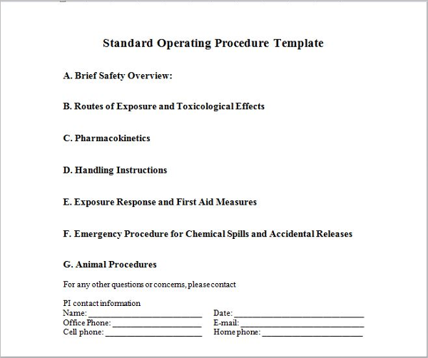 written procedure template - 45 free standard operating procedure templates word