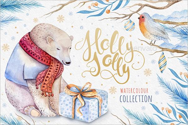 Watercolor Christmas Bear Template