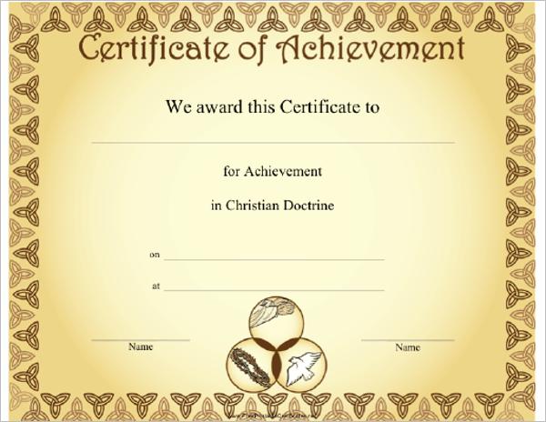Achievement Church Certificate Template  Membership Certificates Templates