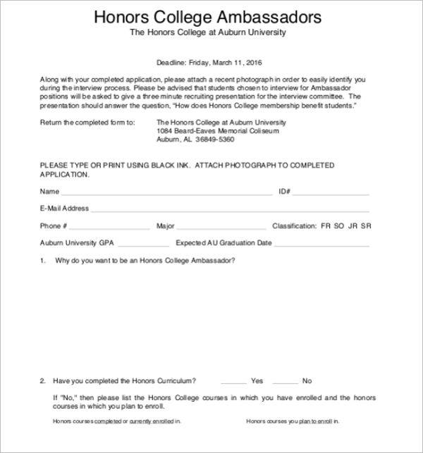 Admission Form Format For Institute