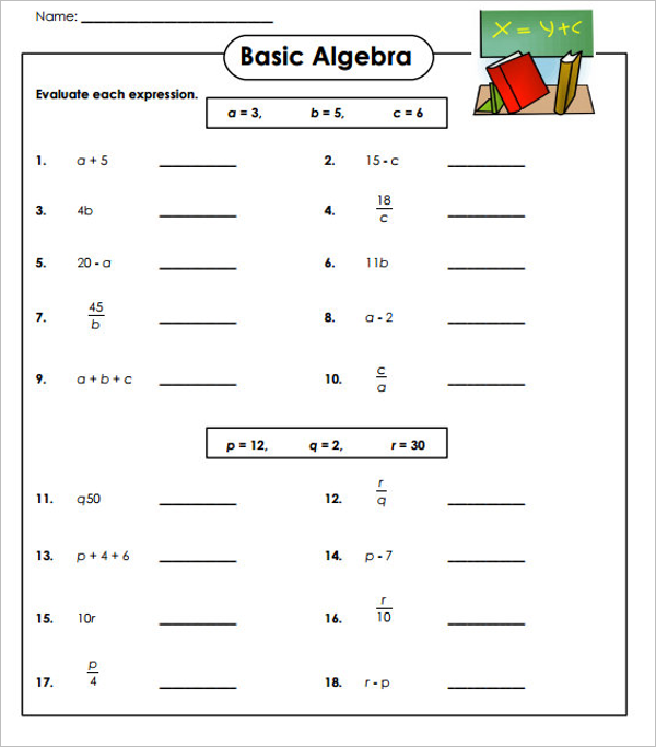 Algebraic Expressions Worksheet Template
