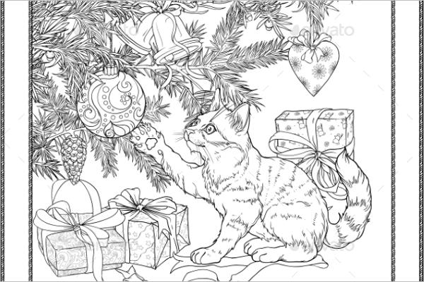 Animal Christmas Coloring Page