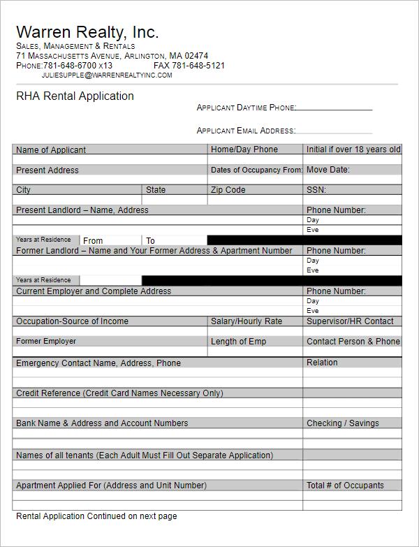 Application Form Format For Job
