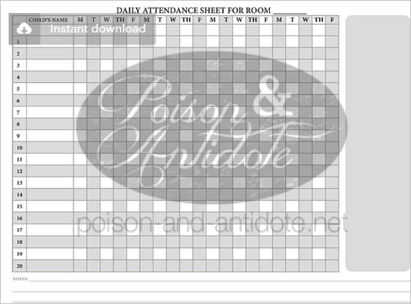 Attendance Sheet Template  Daily Attendance Sheet Template