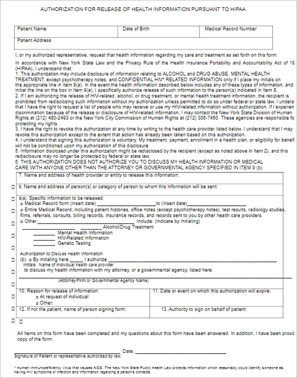 Authorization For Release Form Template
