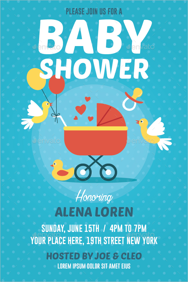 Baby Shower Flyer Template PSD  Baby Shower Flyer Templates Free