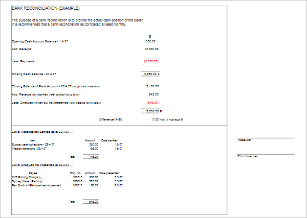 Bank Reconciliation Example Template