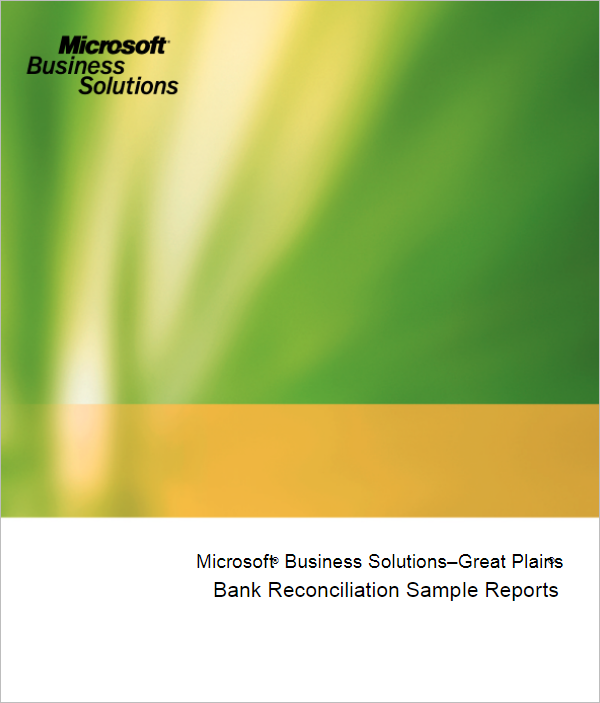Bank Reconciliation Sample Template