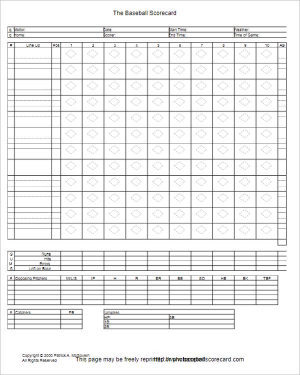 Baseball Scorecard Excel Template