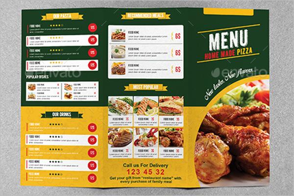 Bi-Fold Restaurant Menu Template