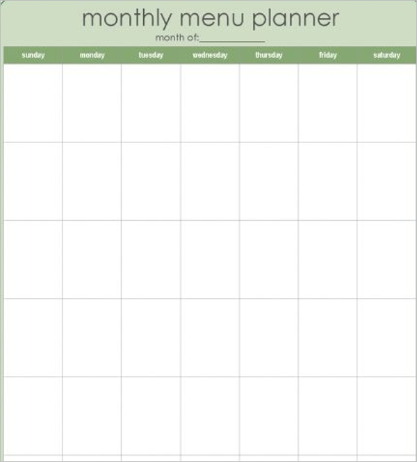 Blank Monthly Menu Template