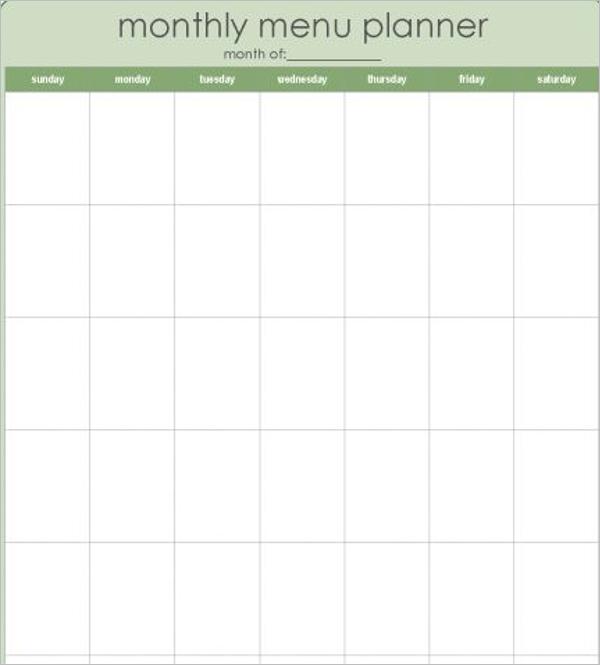 Blank Monthly Menu Template
