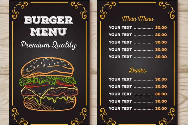 Burger Menu Chalk Design