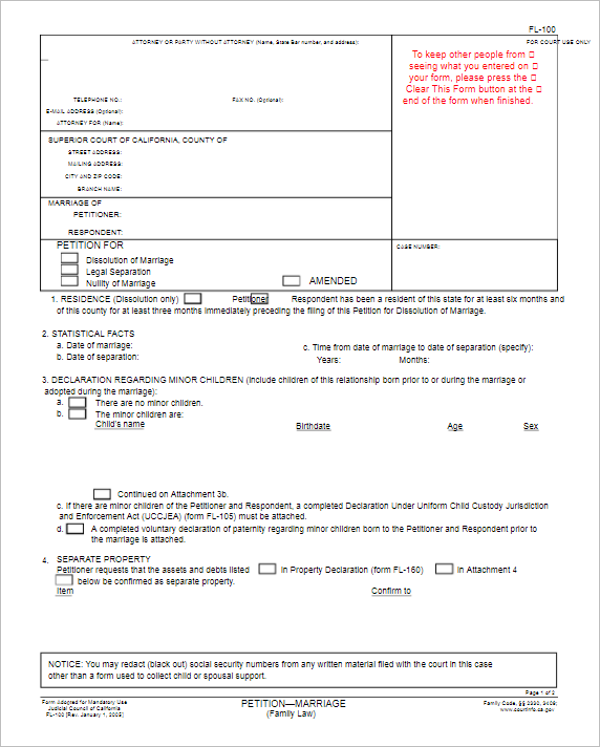 California Divorce Petition Form