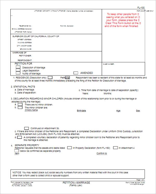 California Divorce Petition Form