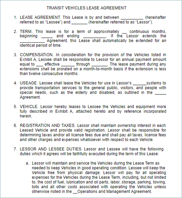 Car Lease Agreement Word