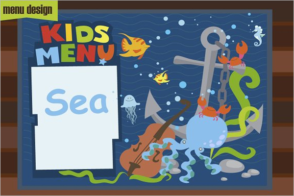 Cartoon Kids Menu Template