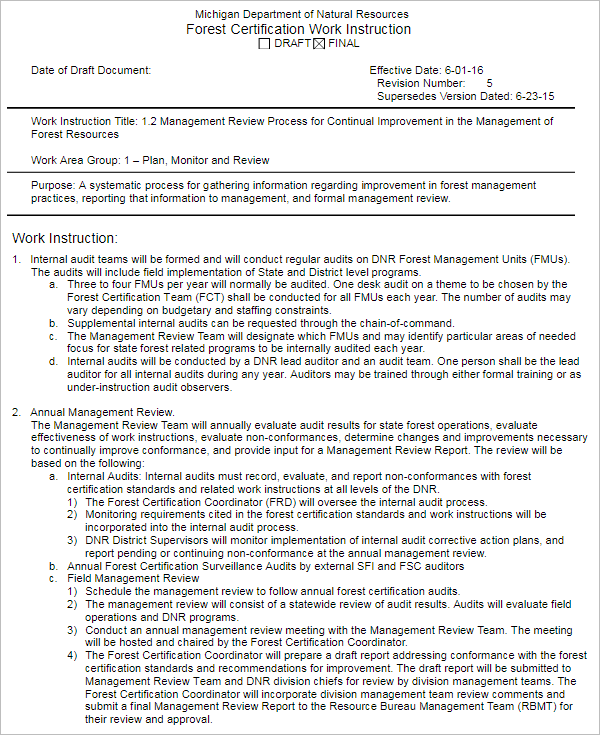 Certificate Work Instruction Template