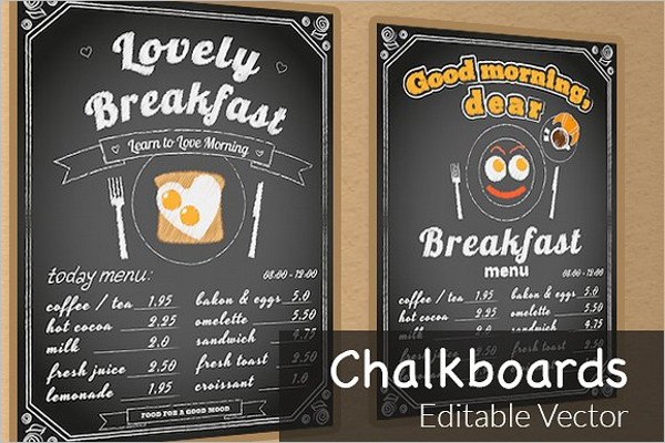 Chalkboard Breakfast Menu Template  Breakfast Menu Template