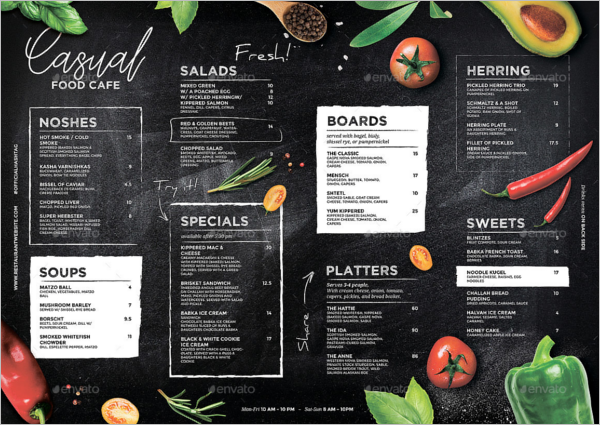 Chalkboard Menu Writing Design